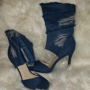 Blue Denim Calf Heels